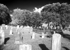 Rural Missouri Cemetery. Old cemetery in rural Missouri along the Missouri river bluffs in infrared Stock Image