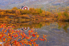 Rural mountain cabins at the mountains, Norway Royalty Free Stock Photos