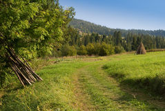 Rural mountain landscape. Beautiful road and green grass with hayrick stock photography
