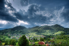 Rural mountain landscape with dramatic sky Stock Photography