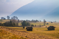 Rural mountain landscape with a hut Stock Image