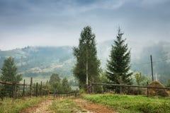 Rural mountain landscape. Mountain peaks misty morning. Ukrainian Carpathians royalty free stock photos