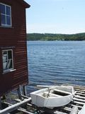 Rural Newfoundland Stage and Boat stock images