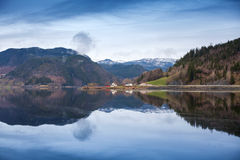 Rural Norwegian landscape with still lake water Royalty Free Stock Photography