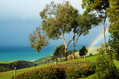 Rural ocean view with rainbow Royalty Free Stock Images