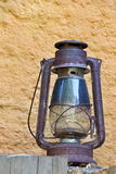 Rural Oil Lamp in the Countryhouse. Photo of Rural Oil Lamp in the Countryhouse Stock Photo
