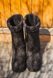 Rural old felt boots Royalty Free Stock Photos