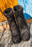 Rural old felt boots Stock Image