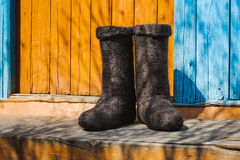 Rural old felt boots Royalty Free Stock Photo