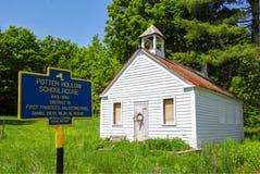 Rural One Room Schoolhouse. Historic landmark one room schoolhouse in rural Potter Hollow, New York stock photos