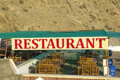 A Rural open-air restaurant in the mountains stock image