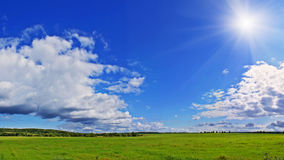 Rural panorama. Summer panorama landscape with wonderful sky and clouds Royalty Free Stock Photos