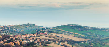 Rural panorama of Italian countryside. Italy, Fermo Royalty Free Stock Photography