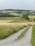 Rural panoramic scenery with farm track Royalty Free Stock Photography