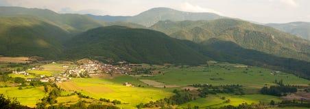 Rural panoramic view in Spanish Pyrenees stock photo