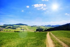 Rural Path with Sun Stock Images
