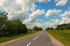 Rural paved road Royalty Free Stock Images
