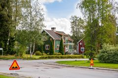 Rural place. With houses and road in Norway Royalty Free Stock Images