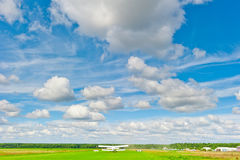 Rural plane on the runway in  field Royalty Free Stock Images