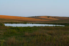 Rural Pond in the Sandhills. A little pond reflects the blue sky out in the sandhills of Nebraska Royalty Free Stock Photos