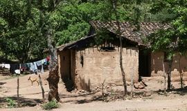 Rural Poverty. A poorly constructed mud house common throughout central america Stock Photos