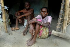 Rural Poverty in India. September 05, 2011.Bolepur,Birbhum,West Bengal,India,Asia-A poor family in the remote village of West Bengal Royalty Free Stock Photo