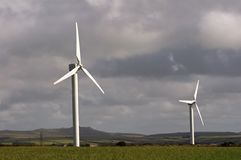 Rural Power. Wind turbine in a rural area,cornwall, uk stock photography