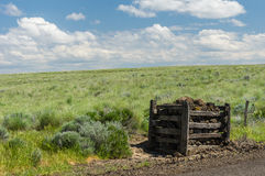 Rural prairie with rock fence post Stock Image