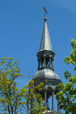 Rural Quebec Church Steeple. Silver-painted country church steeple, typical of catholic churches in quebec Royalty Free Stock Images