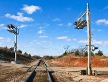 Rural Rail Road and Highway Intersection. Signal lights at a rural rail road and highway intersection Royalty Free Stock Photography
