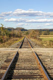 Rural Railroad Tracks Bisect A Dirt Road In Rural Vermont, Unite Stock Images