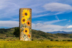 Rural Ranch Sunflower Farm Silo Stock Images