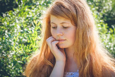 Rural red-haired gir Stock Photo