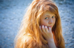Rural red-haired gir Stock Image