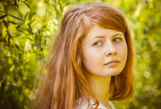 Rural red-haired gir Stock Images