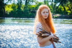 Rural red-haired girl Royalty Free Stock Photography