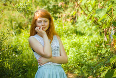 Rural red-haired girl Stock Photography