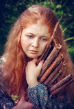 Rural red-haired girl Royalty Free Stock Photos