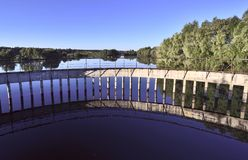 Rural reservoir with a dam on the river Tula royalty free stock photos