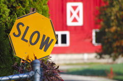 Rural Residential Slow Sign Stock Photos