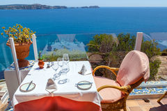 Rural Restaurant with Sea Views. Restaurant with Sea Views in Majorca, Spain Royalty Free Stock Images