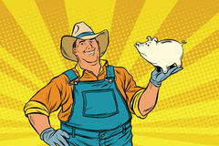 Rural retro farmer with a pig-piggy Bank Stock Image