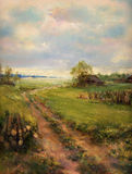 Rural retro scene painted on canvas. Rural retro scene landscape painting - oil painting on canvas Royalty Free Stock Image