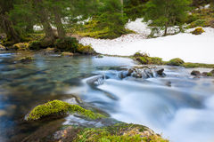 Rural river with motion of flowing water Stock Images