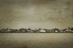 Rural riverfront house in Thailand, vintage style Stock Photos