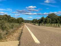 Rural road across the pasture with holm oaks and fence and blue sky and clouds in Spain. Rural road across the pasture with holm oaks and fence and blue sky and Stock Images