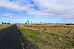 Rural Road in Country NSW. Panoramic view of a rural road in country New England region, near Armidale, New South Wales, Australia stock photos