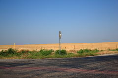 Rural Road. A countryside intersection with bright landscape and copy space Royalty Free Stock Images