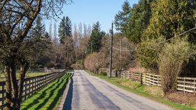Rural road in the Frasr Valley of British Columbia Royalty Free Stock Image
