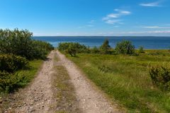 Road-track to the sea. Rural road - the gauge goes along the White Sea on Anzersky Island royalty free stock photos